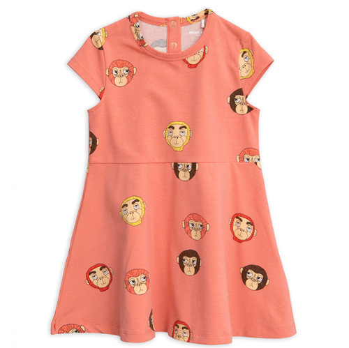 Mini Rodini Monkeys Short Sleeve Dress, Pink