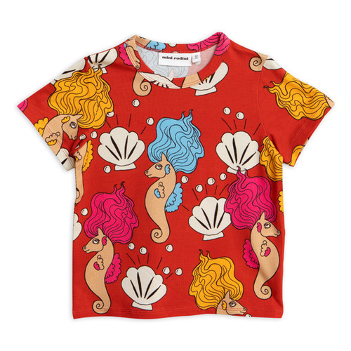 Mini Rodini Seahorse Short Sleeve Tee, Red