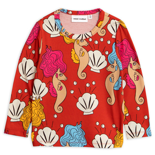 Mini Rodini Seahorse Long Sleeve Tee, Red