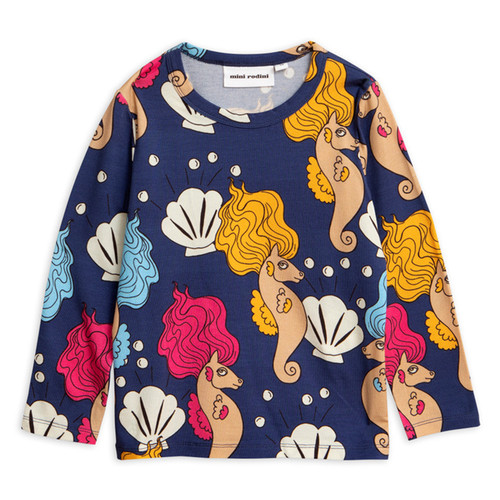 Mini Rodini Seahorse Long Sleeve Tee, Navy