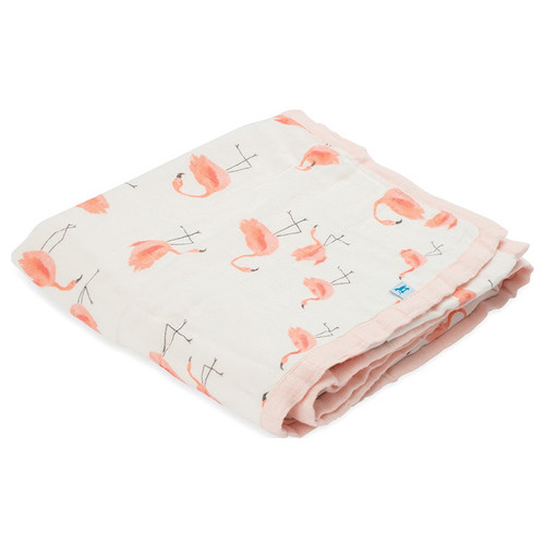 Pink Ladies Flamingo Deluxe Muslin Quilt