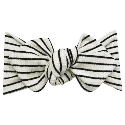 Top Knot Headband, Ribbed White Stripe