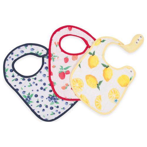 Cotton Muslin Bib Set, Berry Lemonade