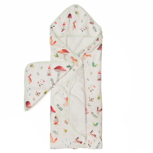 Terry Cloth & Bamboo Hooded Towel Set, Gnome