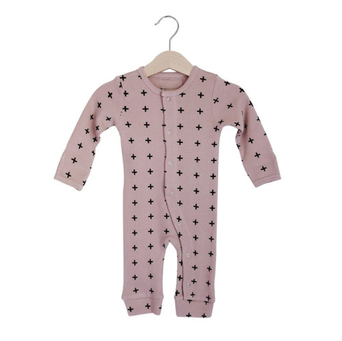 Organic Thermal Romper, Dusty Rose Cross