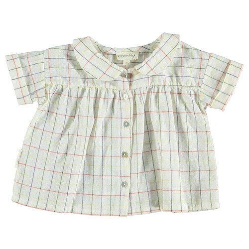 Peter Pan Collared Blouse, Checkered