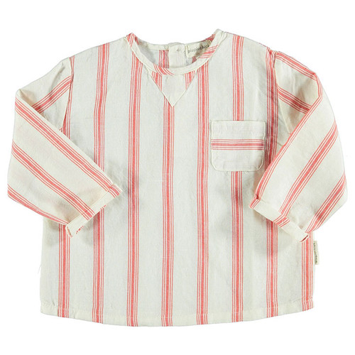Round Collared Shirt, White & Red Stripes