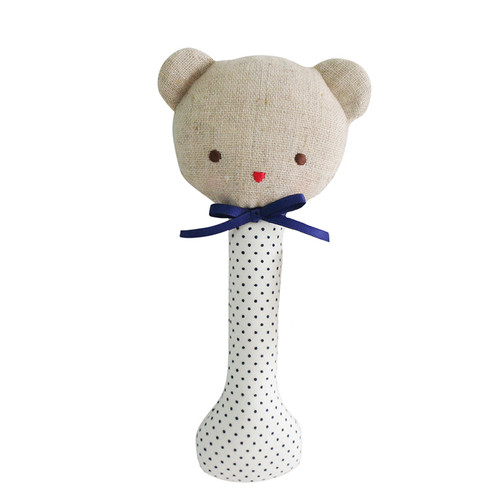 Baby Bear Stick Rattle, Navy Spot
