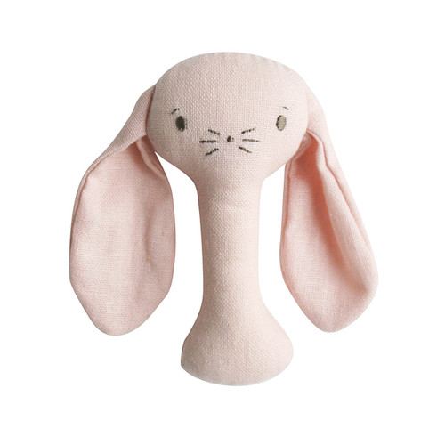 Bobby Bunny Stick Rattle, Pink Linen