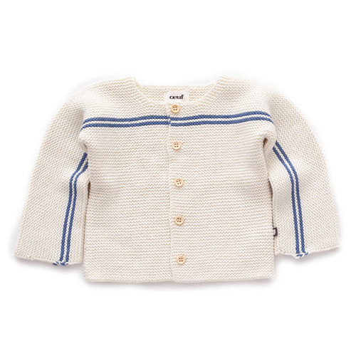 Oeuf Stripe Cardigan, White/Blue