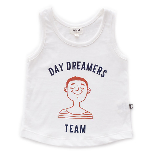 Oeuf Tank Top, White/Daydream