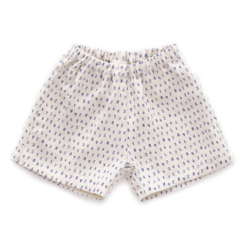 Oeuf Linen Shorts, Beige/Numbers
