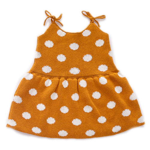 Oeuf Tie Strap Dress, Ochre/White Dots