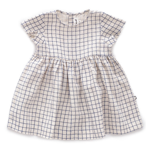 Oeuf Short Sleeve Dress, Beige/Blue Checks