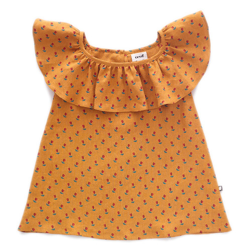 Oeuf Ruffle Linen Dress, Ochre/Tulips