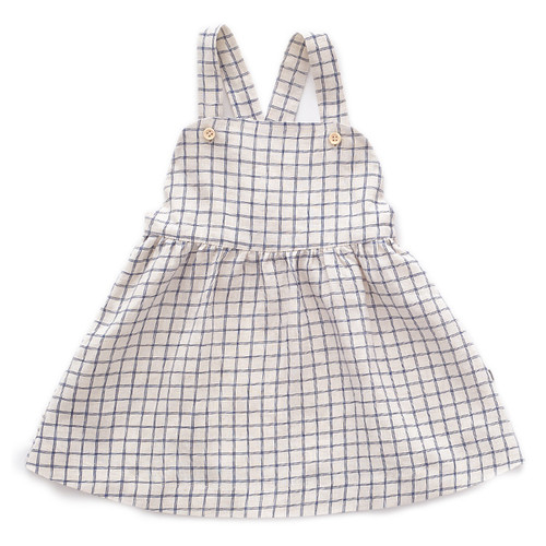Oeuf Overall Dress, Beige/Blue Checks