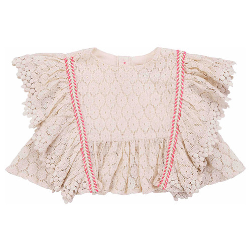 Louise Misha Paola Top, Cream Flower Lace