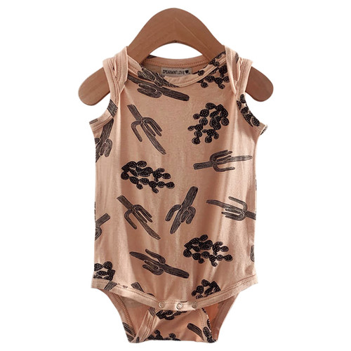 Sleeveless Bodysuit, Nude/Black Cactus