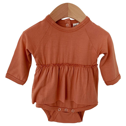 Long Sleeve Skirted Bodysuit, Rust