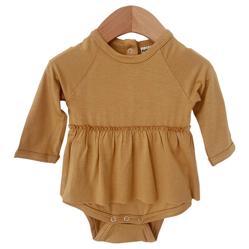 Long Sleeve Skirted Bodysuit, Mustard