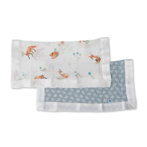 Fox & Blue Grass Security Blankets, 2-pack