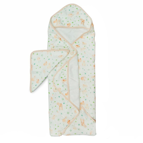 Terry Cloth & Bamboo Hooded Towel Set, Bunny Meadow