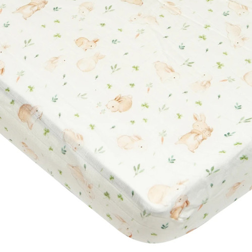 Muslin Crib Sheet, Bunny Meadow
