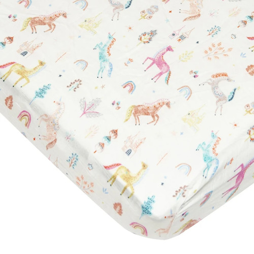 Muslin Crib Sheet, Unicorn Dream