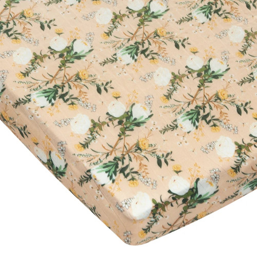 Muslin Crib Sheet, Blushing Protea