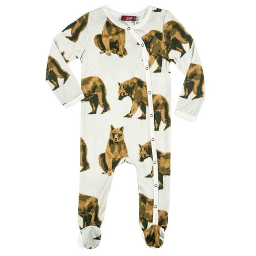 Bamboo Footed Romper, Bear
