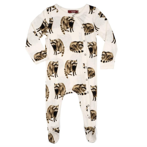 Bamboo Footed Romper, Raccoon