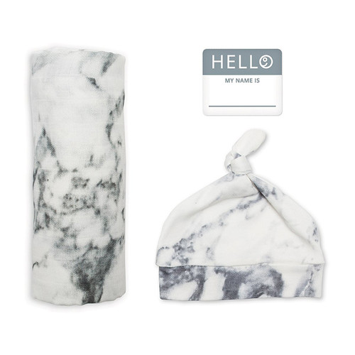 Hat & Swaddle Set, Marble