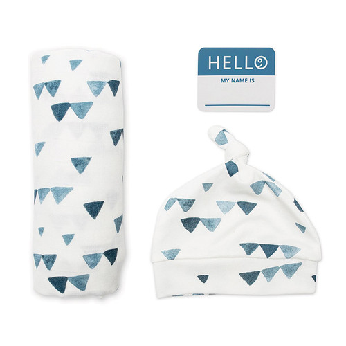 Hat & Swaddle Set, Triangle Blue