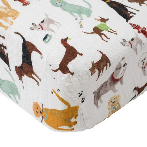 Cotton Muslin Fitted Crib Sheet, Dogs