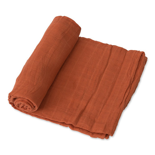 Muslin Cotton Swaddle, Rust