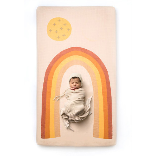 Organic Cotton Crib Sheet, Rainbow