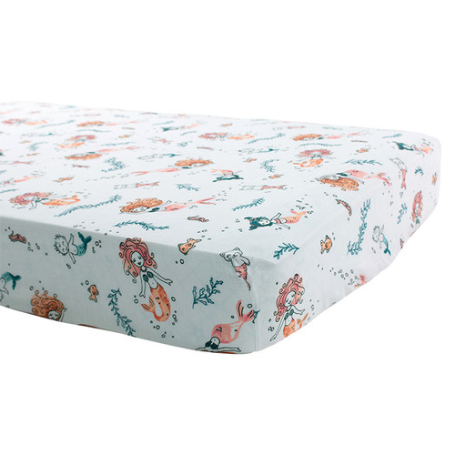 Muslin Crib Sheet, Mermaids