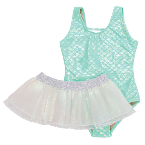 Swimsuit with Skirt, Mint Metallic Mermaid