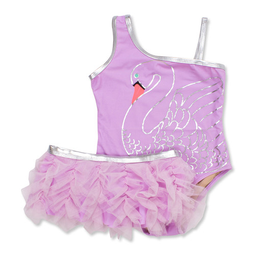 One Shoulder Swimsuit Set, Swan Princess
