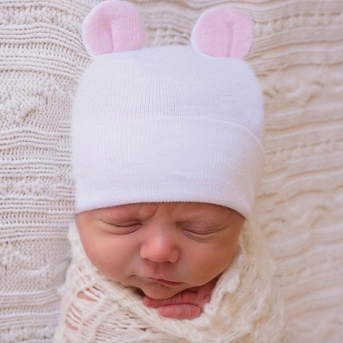 Newborn Bear Hat, White/Pink Ears