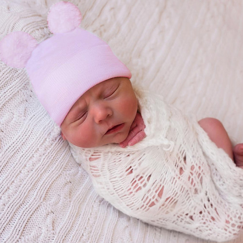 Newborn Hat, Pink Fuzzy Bear