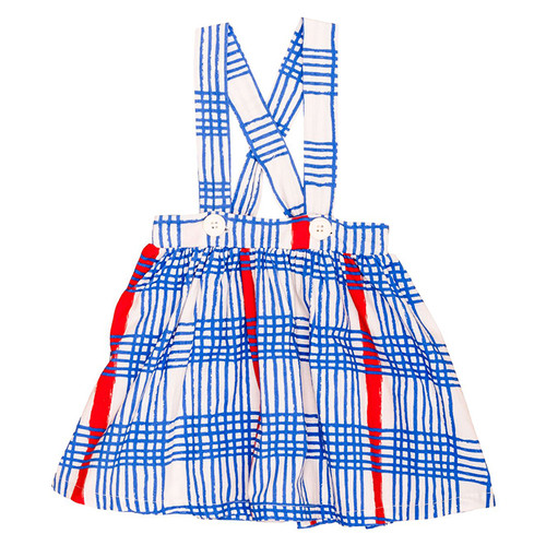 Brace Skirt, Blue Gingham