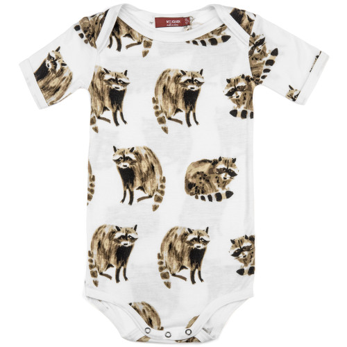 Bamboo Short Sleeve Bodysuit, Raccoon
