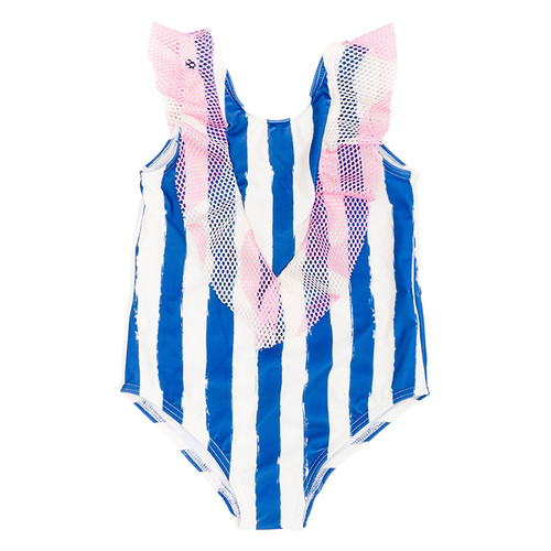 Ruffle Swimsuit, Blue Stripes