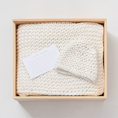 Organic Cotton Knit Gift Set, Soft White