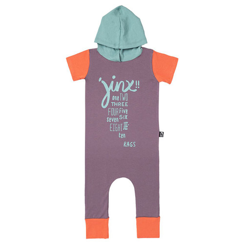 Short Sleeve Hooded Romper, Jinx