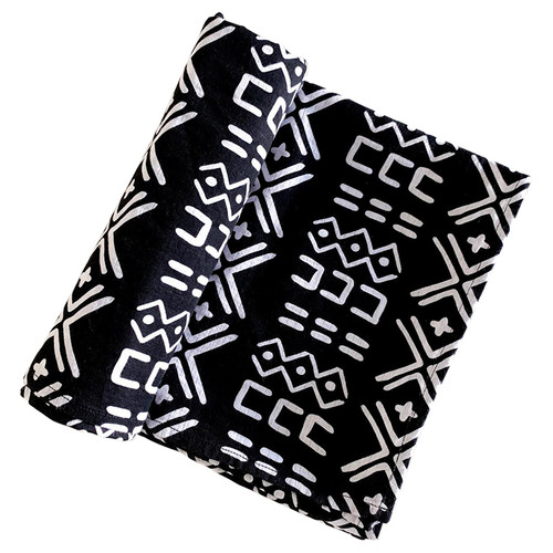 Muslin Swaddle, Black/White Mudcloth