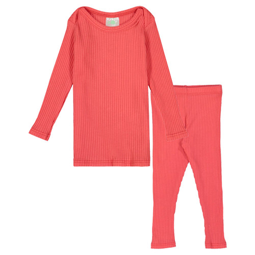 Long Sleeve Ribbed 2-Piece Outfit, Pink Coral