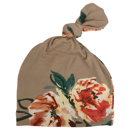 Beanie, Taupe Floral