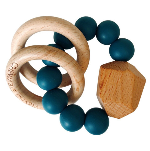 Hayes Silicone + Wood Teether, Blue Spruce